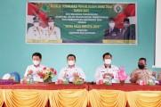 Dinas Pemberdayaan Masyarakat Desa mensosialisasikan penggunaan Dana Desa wilayah Kecamatan Sungai Keruh dan Jirak Jaya tahun 2021, di Balai Desa Tebing Bulang, Kamis (4/02/2021).