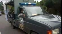Jajaran Polsek Lais Sosialisasikan Pencegahan Covid-19 Berkeliling Desa Dengan Mobil Patroli