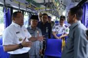 Bupati Muba Dodi Reza Alex Noerdin melaunching Operasional Bus AKDP Damri antar Kota yakni tujuan Sekayu-Palembang dan Palembang-Sekayu.