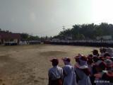 Memperingati Hari Kesaktian Pancasila, beberapa sekolah yang ada di Desa Srimulyo, Kecamatan Tungkal Jaya, menggelar upacara gabungan, di Lapangan SDN Srimulyo, Selasa (1/10).